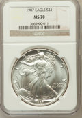 Modern Bullion Coins, 1987 $1 Silver Eagle MS70 NGC. NGC Census: (352). PCGS Population(10). Numismedia Wsl. Price for problem free NGC/PCGS co...
