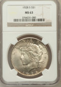 Peace Dollars: , 1928-S $1 MS63 NGC. NGC Census: (1262/1319). PCGS Population(1918/1817). Mintage: 1,632,000. Numismedia Wsl. Price for pro...