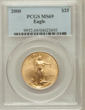 Modern Bullion Coins, 2000 G$25 Half-Ounce Gold Eagle MS69 PCGS. PCGS Population (756/3).NGC Census: (3659/521). Numismedia Wsl. Price for prob...