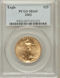 Modern Bullion Coins, 2002 G$25 Half-Ounce Gold Eagle MS69 PCGS. PCGS Population(1490/9). NGC Census: (6224/971). Numismedia Wsl. Price for pro...