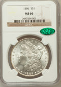 Morgan Dollars: , 1886 $1 MS66 NGC. CAC. NGC Census: (4873/880). PCGS Population(2512/260). Mintage: 19,963,886. Numismedia Wsl. Price for p...