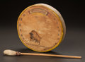 American Indian Art, A SIOUX PAINTED HIDE DRUM WITH BEATER. Wanyeya. c. 1935... (Total:2 )