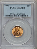 Lincoln Cents: , 1926 1C MS65 Red PCGS. PCGS Population (868/566). NGC Census:(364/232). Mintage: 157,088,000. Numismedia Wsl. Price for pr...