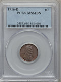 Lincoln Cents: , 1916-D 1C MS64 Brown PCGS. PCGS Population (85/14). NGC Census:(92/45). Mintage: 35,956,000. Numismedia Wsl. Price for pro...