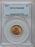 Lincoln Cents: , 1917 1C MS64 Red and Brown PCGS. PCGS Population (187/61). NGCCensus: (146/123). Mintage: 196,429,792. Numismedia Wsl. Pri...