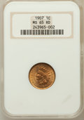 Indian Cents, 1907 1C MS65 Red NGC. NGC Census: (94/14). PCGS Population(190/35). Mintage: 108,138,616. Numismedia Wsl. Price for proble...