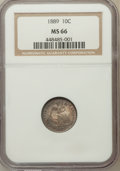 Seated Dimes: , 1889 10C MS66 NGC. NGC Census: (23/8). PCGS Population (24/4).Mintage: 7,380,000. Numismedia Wsl. Price for problem free N...