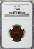 Proof Two Cent Pieces, 1871 2C PR65 Red and Brown NGC....