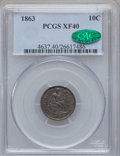 Seated Dimes, 1863 10C XF40 PCGS. CAC....