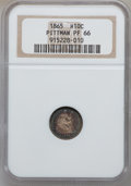 Proof Seated Half Dimes, 1865 H10C PR66 NGC....
