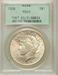 Peace Dollars: , 1926 $1 MS63 PCGS. PCGS Population (2906/4945). NGC Census:(2635/3865). Mintage: 1,939,000. Numismedia Wsl. Price for prob...