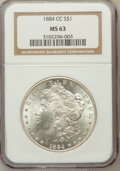 Morgan Dollars: , 1884-CC $1 MS63 NGC. NGC Census: (5673/12825). PCGS Population(11356/23822). Mintage: 1,136,000. Numismedia Wsl. Price for...