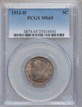 Liberty Nickels, 1912-D 5C MS65 PCGS....