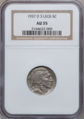 Buffalo Nickels, 1937-D 5C Three-Legged AU55 NGC. FS-901....