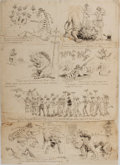 Books:Prints & Leaves, [Political Cartoon]. 19th Century Original Art Series of Cartoons.Individual panels are mounted to heavy stock with tissue ...