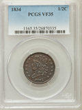 Half Cents, 1834 1/2 C VF35 PCGS. PCGS Population (15/479). NGC Census:(7/457). Mintage: 141,000. Numismedia Wsl. Price for problem fr...