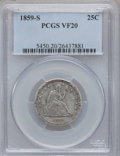 Seated Quarters, 1859-S 25C VF20 PCGS....