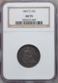 Seated Quarters, 1843-O 25C AU55 NGC....