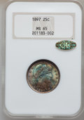 Barber Quarters, 1897 25C MS65 NGC. Gold CAC....