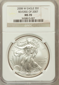2008-W $1 Silver Eagle, Reverse of 2007 MS70 NGC. NGC Census: (4283). PCGS Population (234). Numismedia Wsl. Price for p...