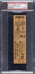 Baseball Collectibles:Tickets, 1951 National League Playoff Game Three Full Ticket, PSA EX 5--TheShot Heard 'round the World....