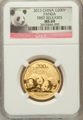 China:People's Republic of China, 2013 China Panda Gold 200 Yuan (1/2 oz), First Releases MS69 NGC. PCGS Population (15/136)....