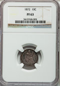 Proof Seated Dimes: , 1872 10C PR63 NGC. NGC Census: (25/63). PCGS Population (44/68).Mintage: 950. Numismedia Wsl. Price for problem free NGC/P...