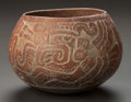 Pre-Columbian:Ceramics, A MAYA BROWNWARE BOWL WITH CARVED PATTERN. c. 600 - 900 AD...