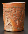 Pre-Columbian:Ceramics, A MAYA MOLDED VESSEL WITH FIGURES AND WATER BIRDS. c. 600 - 900AD...