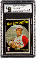 Baseball Cards:Unopened Packs/Display Boxes, 1959 Topps Baseball 4th Series Cello Pack GAI NM+ 7.5 With DonNewcombe Top Card. ...