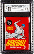Baseball Cards:Unopened Packs/Display Boxes, 1967 Topps Baseball Wax Pack GAI NM+ 7.5. ...