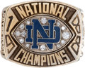 """Football Collectibles:Others, 1988 Notre Dame National Championship Lou Holtz """"Balfour"""" Salesman's Sample Ring. ..."""
