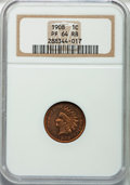 Proof Indian Cents: , 1908 1C PR64 Red and Brown NGC. NGC Census: (52/83). PCGSPopulation (112/67). Mintage: 1,620. Numismedia Wsl. Price forpr...