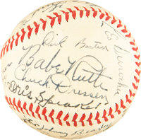 1944 War Bond Game Multi-Signed Baseball with Ruth, Wagner, Walter Johnson--PSA/DNA NM-MT 8