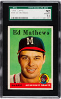 Baseball Cards:Singles (1950-1959), 1958 Topps Eddie Mathews #440 SGC 92 NM/MT+ 8.5 - Pop One, FinestSGC Known! ...