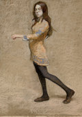 Fine Art - Painting, American:Contemporary   (1950 to present)  , HARVEY DINNERSTEIN (American, b. 1928). Rachel Walking,1968. Pastel on board. 26 x 19 inches (66.0 x 48.3 cm). Signed a...