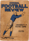 """Football Collectibles:Publications, 1928 Notre Dame Team Signed """"Official Football Review"""" Publication(""""Win One for the Gipper"""" Season) - With Rockne Autograph, ..."""
