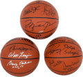 Basketball Collectibles:Balls, 1996-97 NBA's 50 Greatest Players Multi Signed Basketballs Lot of 3(39 Signatures)....