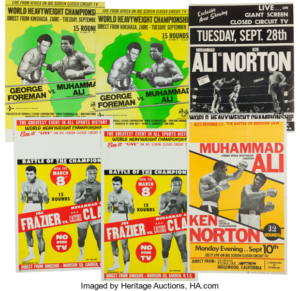 1970's Muhammad Ali Closed Circuit Fight Posters Lot of 6
