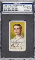 Autographs:Sports Cards, 1909-11 T206 Piedmont Rube Marquard, Portrait, Signed. ...