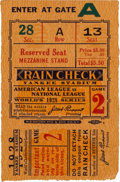Baseball Collectibles:Tickets, 1928 New York Yankees Vs. St. Louis Cardinals World Series Game 2Ticket Stub. ...