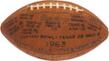 Football Collectibles:Balls, 1963 University of Texas Longhorns Team Signed Football - First National Title Team. ...