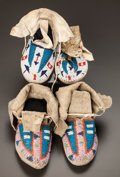 American Indian Art:Beadwork and Quillwork, TWO PAIRS OF SIOUX CHILD'S BEADED HIDE MOCCASINS. ... (Total: 2 )