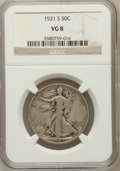 Walking Liberty Half Dollars: , 1921-S 50C VG8 NGC. NGC Census: (90/642). PCGS Population(201/1088). Mintage: 548,000. Numismedia Wsl. Price for problemf...
