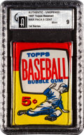 Baseball Cards:Unopened Packs/Display Boxes, 1957 Topps Baseball 1st Series 5-Cent Wax Pack GAI Mint 9! ...