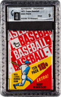 Baseball Cards:Unopened Packs/Display Boxes, 1971 Topps Baseball 6th Series Wax Oddity GAI Mint 9 In 1970Wrapper. ...
