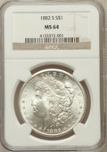 Morgan Dollars: , 1882-S $1 MS64 NGC. NGC Census: (28304/25654). PCGS Population(29037/21864). Mintage: 9,250,000. Numismedia Wsl. Price for...