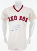 Baseball Collectibles:Uniforms, 1977 Fred Lynn Game Worn Signed Boston Red Sox Jersey. ...