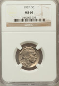Buffalo Nickels: , 1937 5C MS66 NGC. NGC Census: (4175/391). PCGS Population(3557/316). Mintage: 79,485,768. Numismedia Wsl. Price forproble...