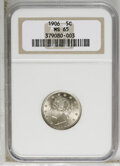 Liberty Nickels: , 1906 5C MS65 NGC. NGC Census: (68/5). PCGS Population (97/10).Mintage: 38,613,724. Numismedia Wsl. Price: $600. (#3867)...